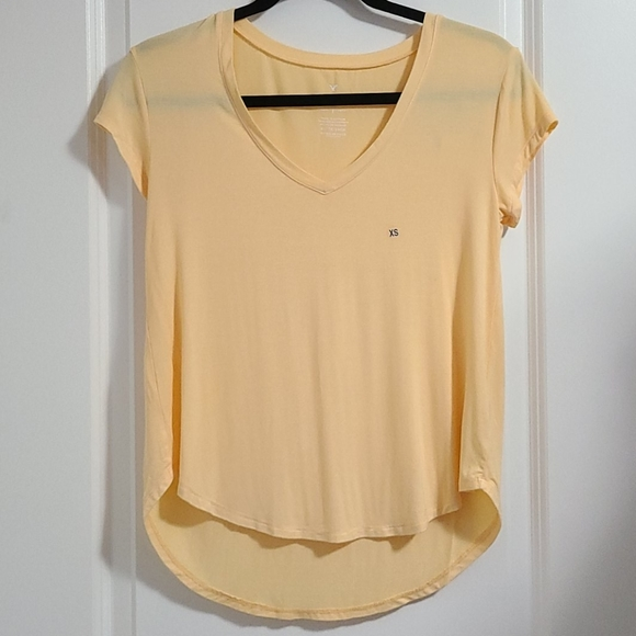 New! AE Soft Golden Yellow V-Neck Tee